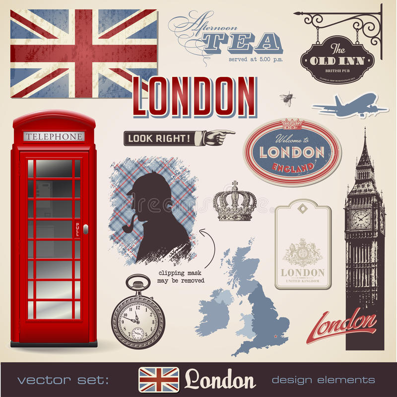 designelement london royaltyfri illustrationer