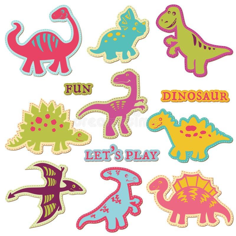 Designelement - Set för Dinosaur för Ð-¡ ute stock illustrationer