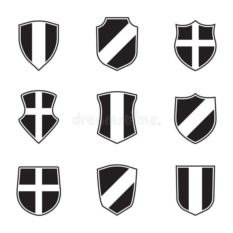 designelementseten skyddar vektorn Vektorillustration av olik sköldform heraldiska designelement stock illustrationer