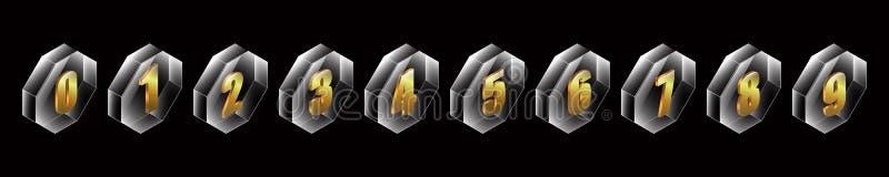 designen 3d knäppas guld- nummer i vektor för glass behållare för oktogon vektor illustrationer