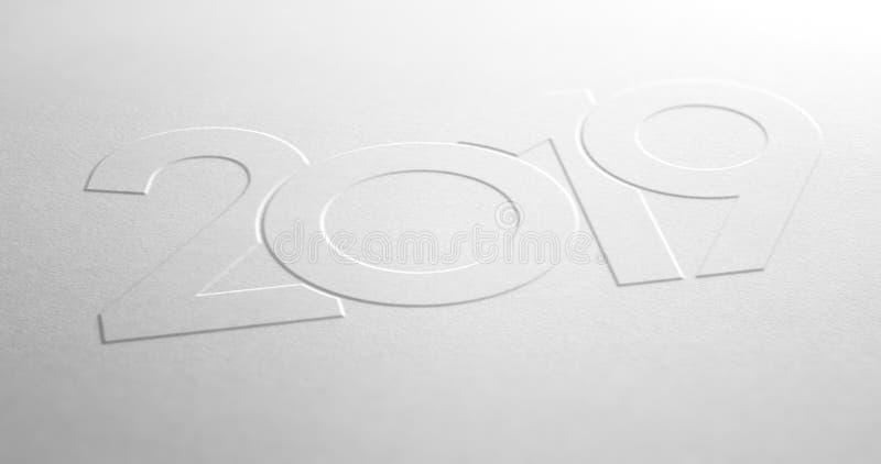 Designen för år 2019 utföra i relief på vitbokbakgrund vektor illustrationer