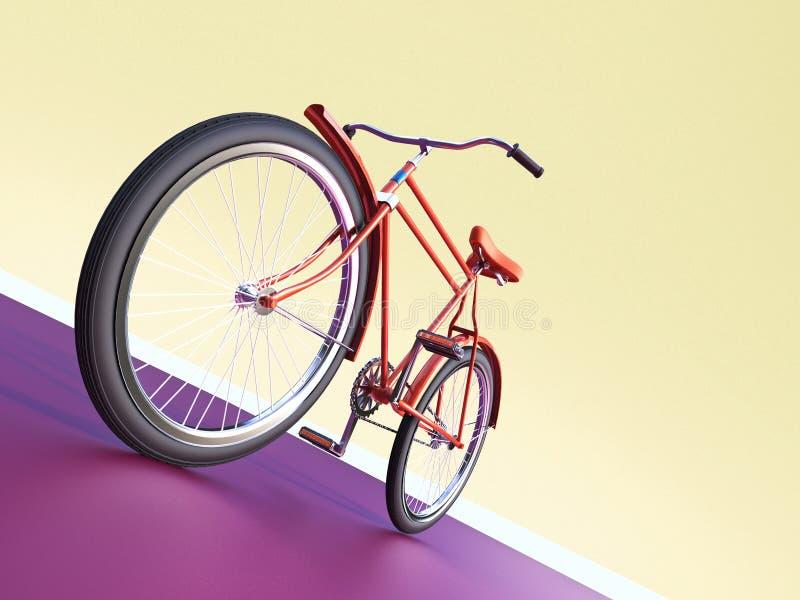 Designen för cykelbegreppsaffischen, den retro cykeln framför, på färgbackgound med stället för text sommar för sporthipsterritt  royaltyfri illustrationer