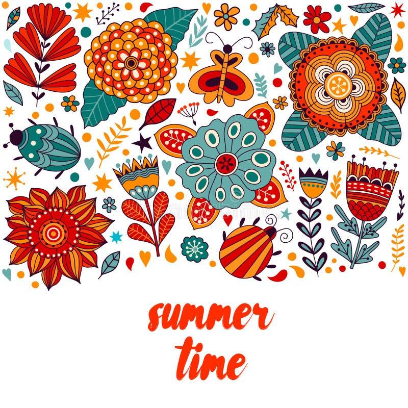 Designen för kortet för sommartid klottrar den blom-, blommor för sommartid och bladet beståndsdelar Illustration som göras av bl vektor illustrationer