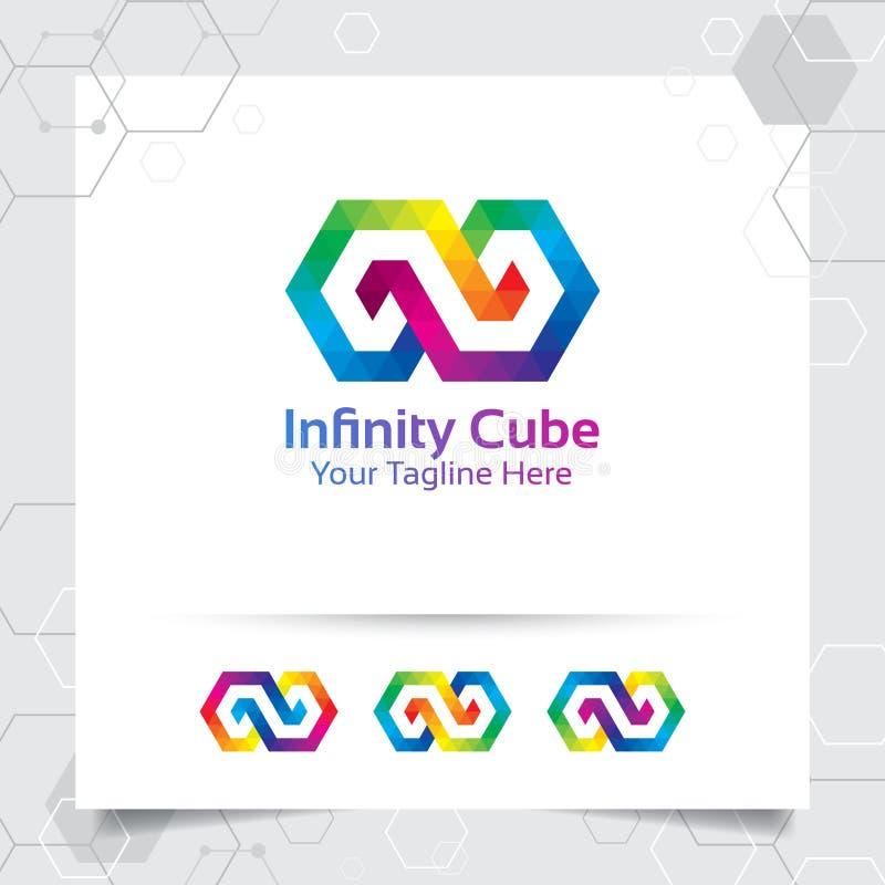 Designen för logoen för affärsfinansvektorn med begrepp av anknuten form och fyrkanten förbinder illustrationen för oändlighetssy stock illustrationer