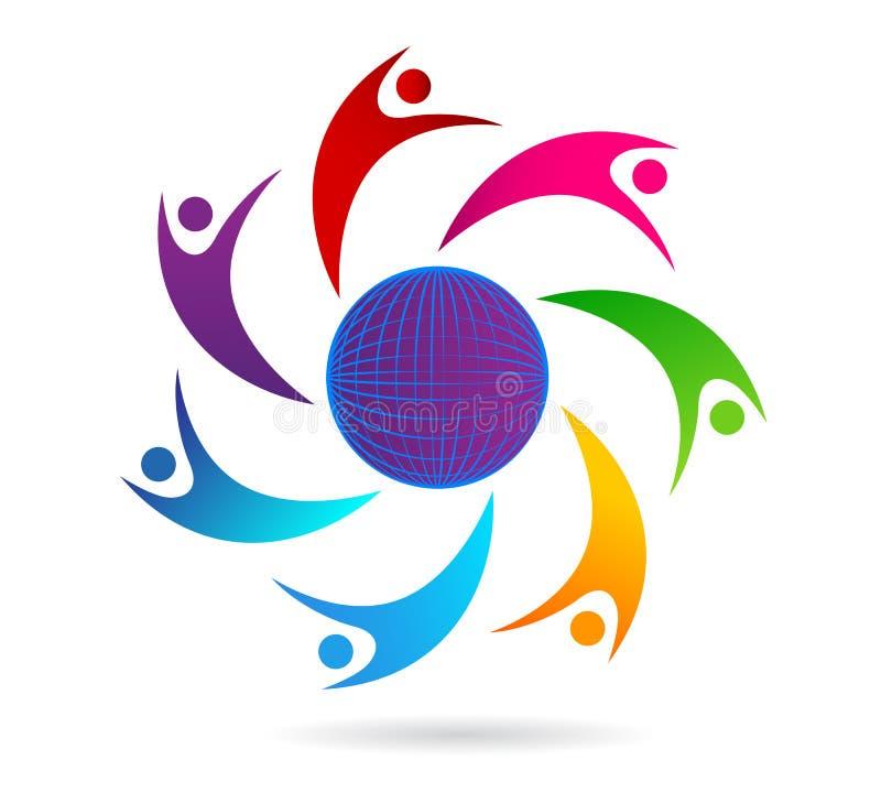 Designen för logoen för folklagarbete, folk gör sammandrag, jordklotet, den moderna affären, anslutning icon1 vektor illustrationer
