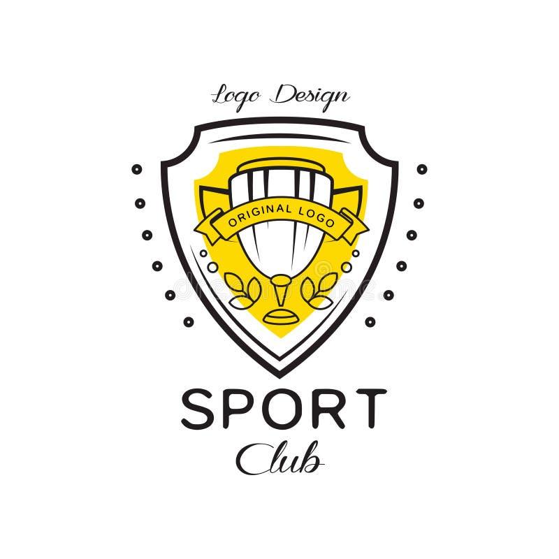 Designen för logoen för sportklubban, heraldisk sköld med vinnarekoppen, emblem kan användas för konditionklubban, sportskolavekt royaltyfri illustrationer