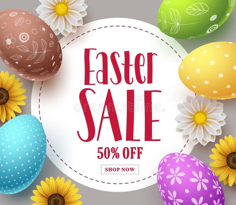 Designen för mallen för banret för påskförsäljningsvektorn med färgrika ägg, vårblommor och försäljningen smsar stock illustrationer