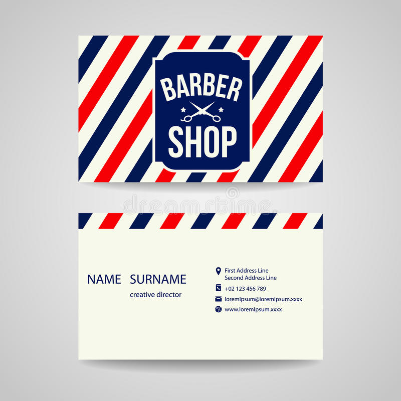 Designen för mallen för affärskortet för barberare shoppar vektor illustrationer