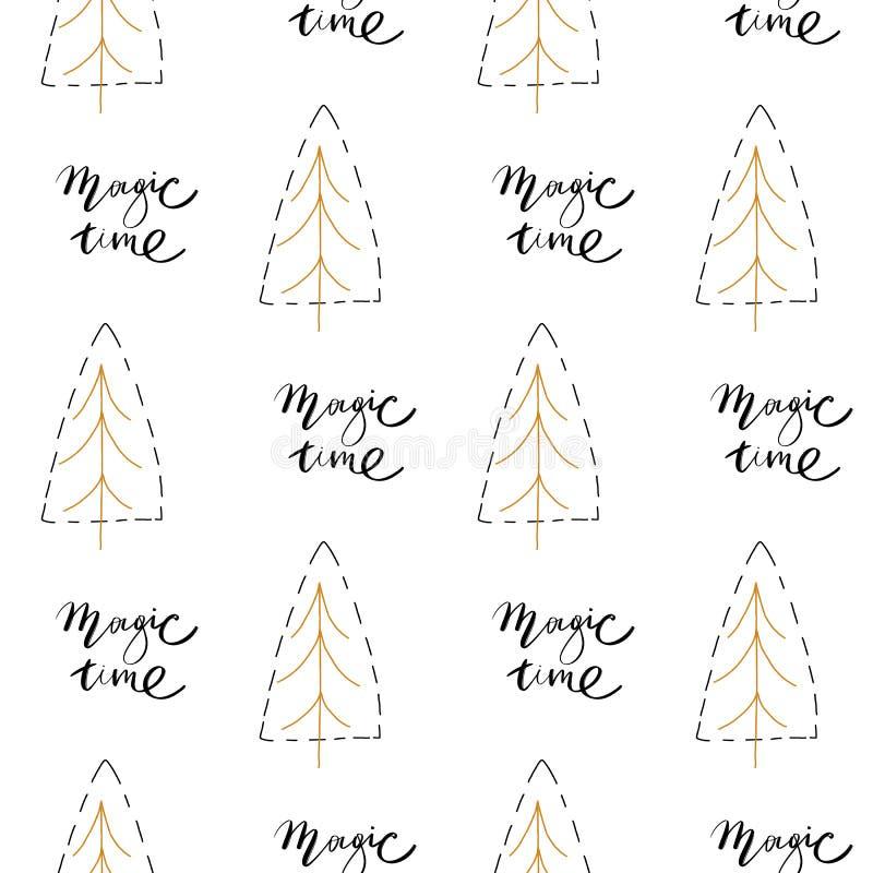 Designen för modellen för jul för vektorn för handen målade den utdragen abstrakt garnering texturerade sömlösa med frihandsborst royaltyfri illustrationer