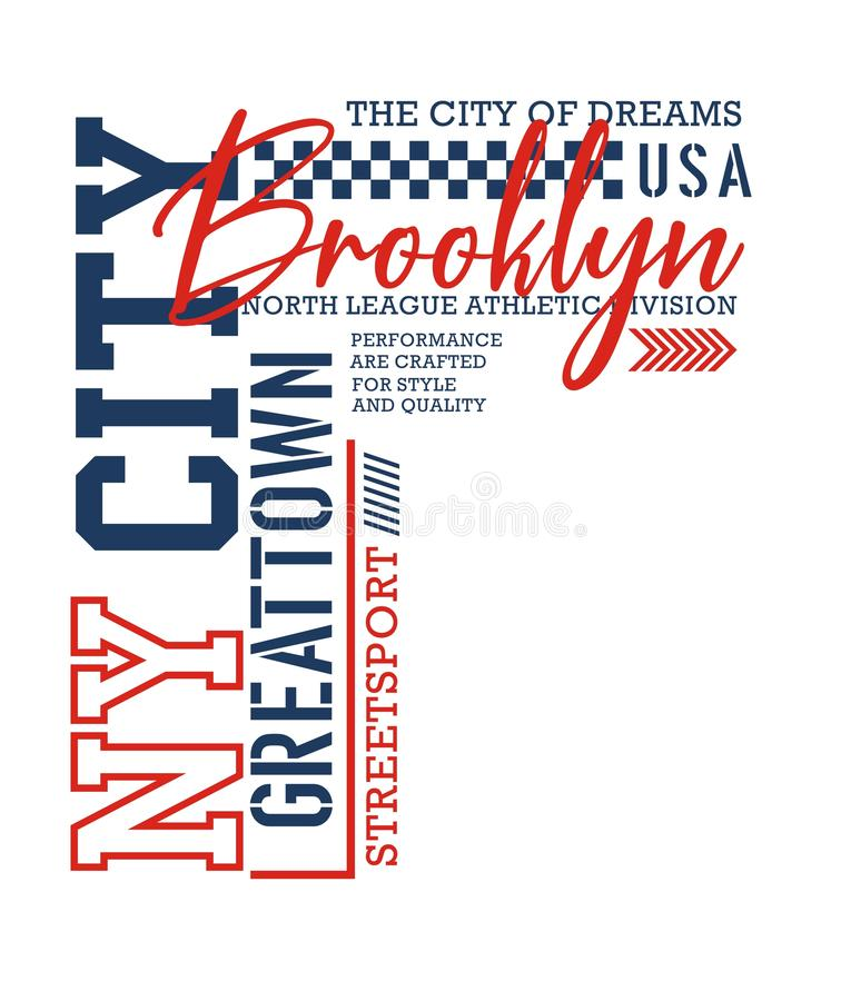 Designen för NY-stadsBrooklyn typografi, för t-skjorta diagram skrivar ut, vektorer royaltyfri illustrationer