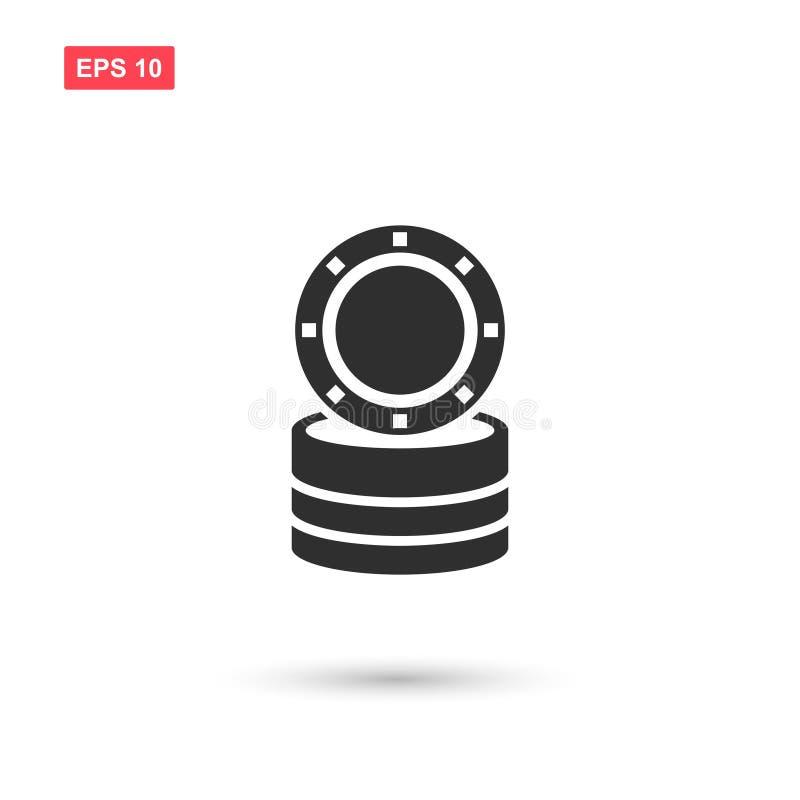 Designen för symbolen för kasinoteckenvektorn isolerade royaltyfri illustrationer