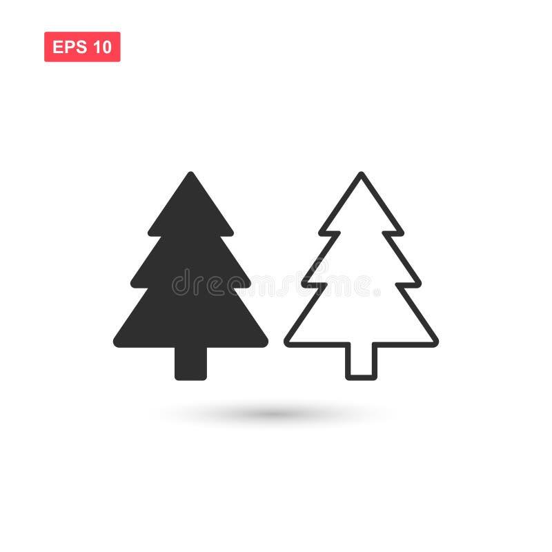 Designen för symbolen för Xmas-trädvektorn isolerade 2 stock illustrationer