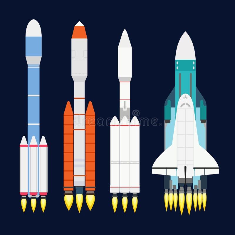Designen för tecknade filmen för raket för vektorteknologiskeppet för startup innovationprodukt och kosmosfantasiutrymme lanserar royaltyfri illustrationer