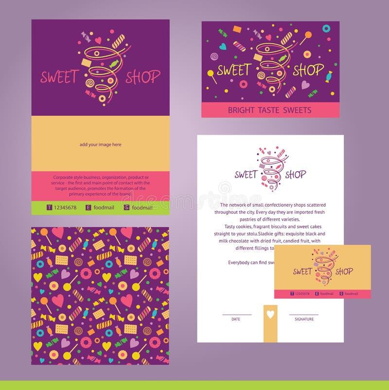 Designen för vektorbrevpappermallen för kafé, shoppar, konfekt stock illustrationer