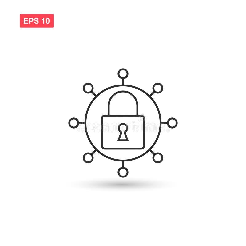 Designen för vektorn för Cybersäkerhetssymbolen isolerade 4 stock illustrationer