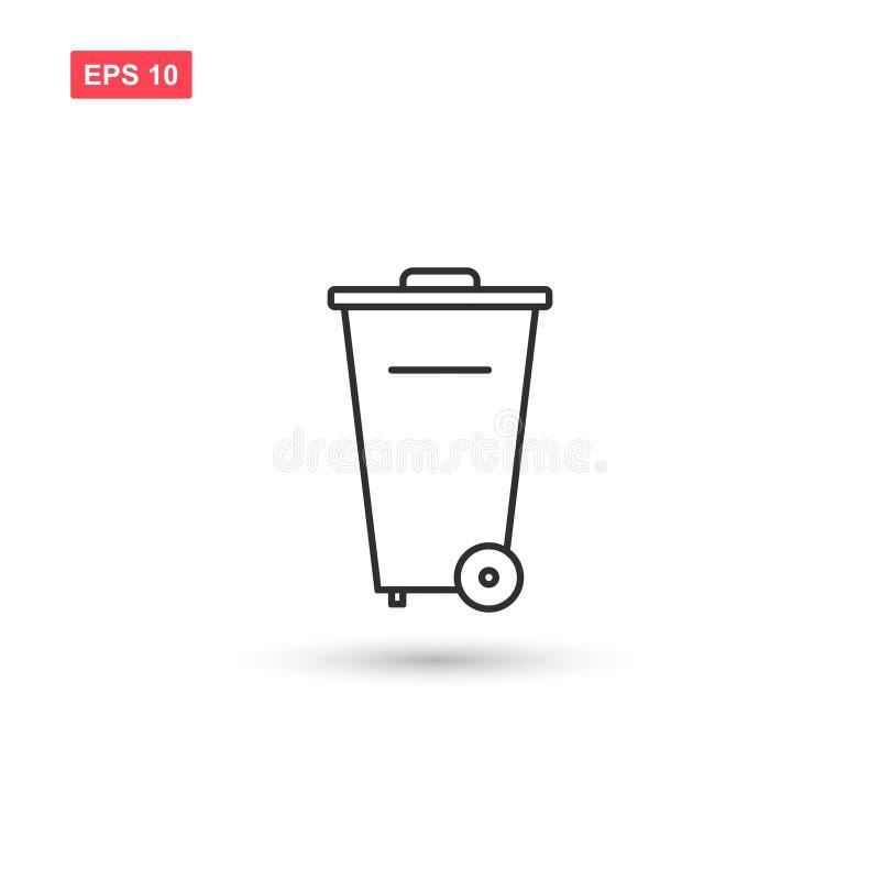 Designen för vektorn för symbolen för avfallfacket isolerade stock illustrationer