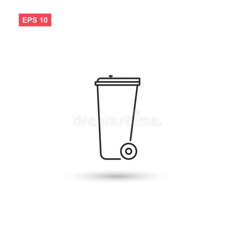 Designen för vektorn för symbolen för avfallfacket isolerade 2 vektor illustrationer