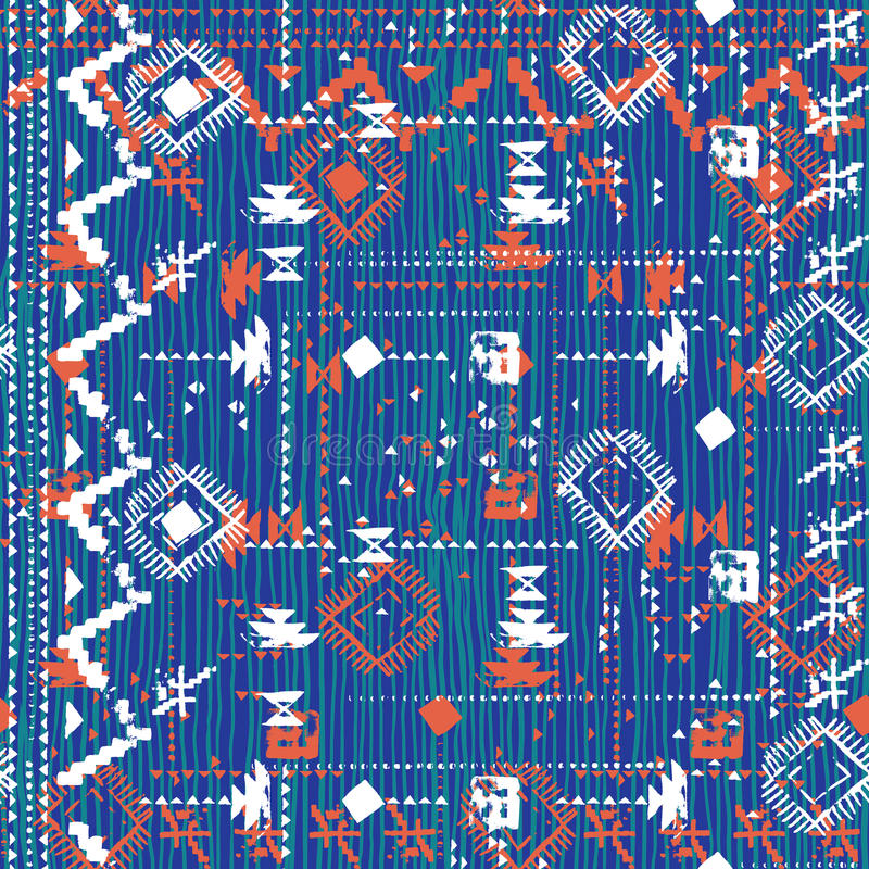 Designen i aztec stil med handen målade sparren royaltyfri illustrationer