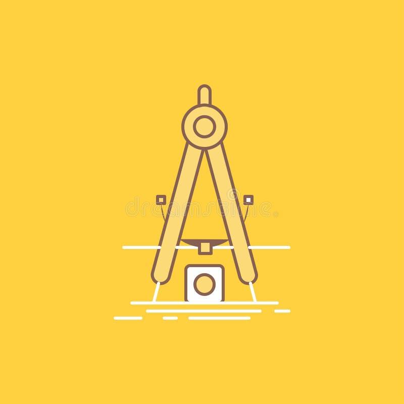 Designen måttet, produkten, förfiningen, plan linje för utveckling fyllde symbolen H?rlig logoknapp ?ver gul bakgrund f?r UI och royaltyfri illustrationer