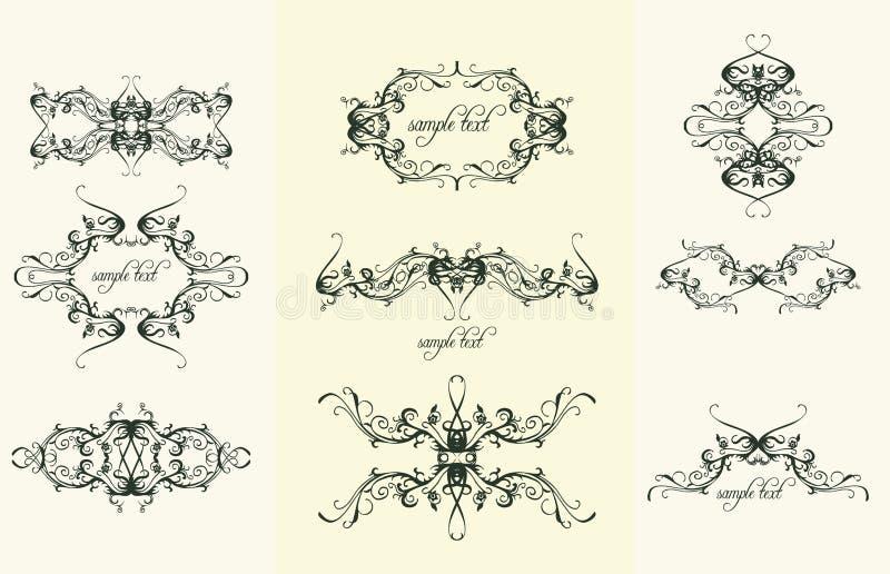 designen smyckar tappning stock illustrationer