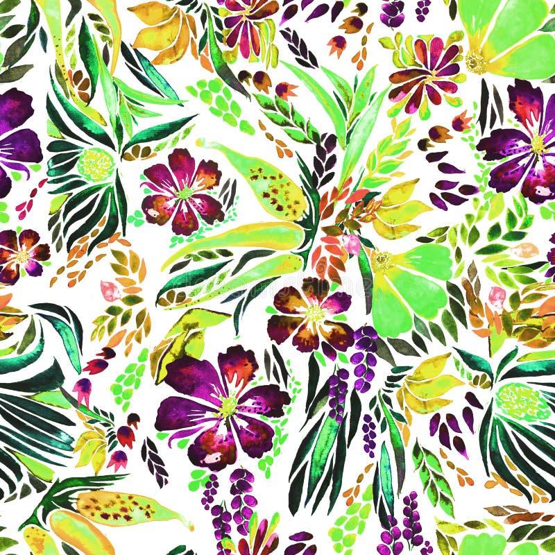 Designer bright floral watercolor pattern vector illustration
