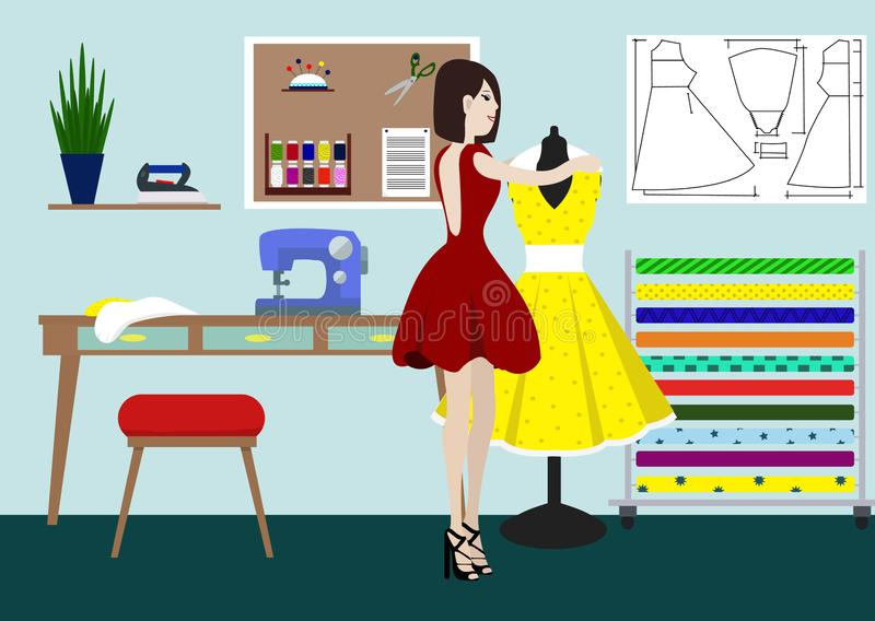 Designer of clothes in studio. A vector illustration of a fashion designer at work. Fashion designer standing near the stock illustration