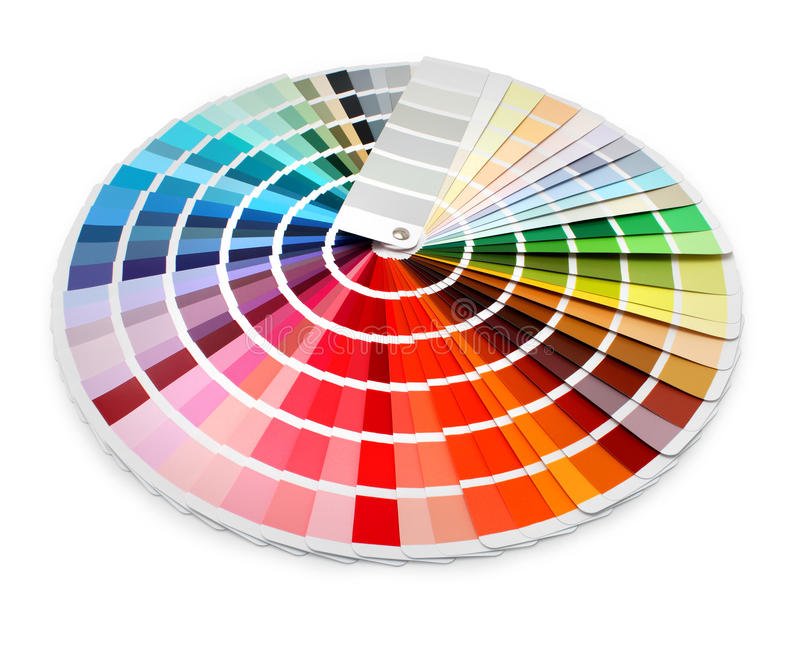 Designer color chart spectrum. Multi color designer swatch palette guide chart spectrum royalty free stock photos
