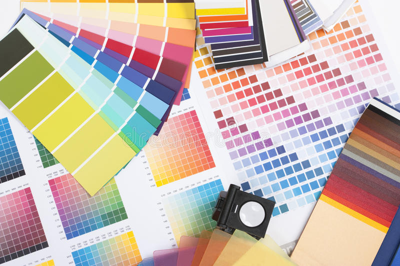 Designer coloured swatches. Colour spectrum of swatches as used by a graphic designer or painter royalty free stock photos