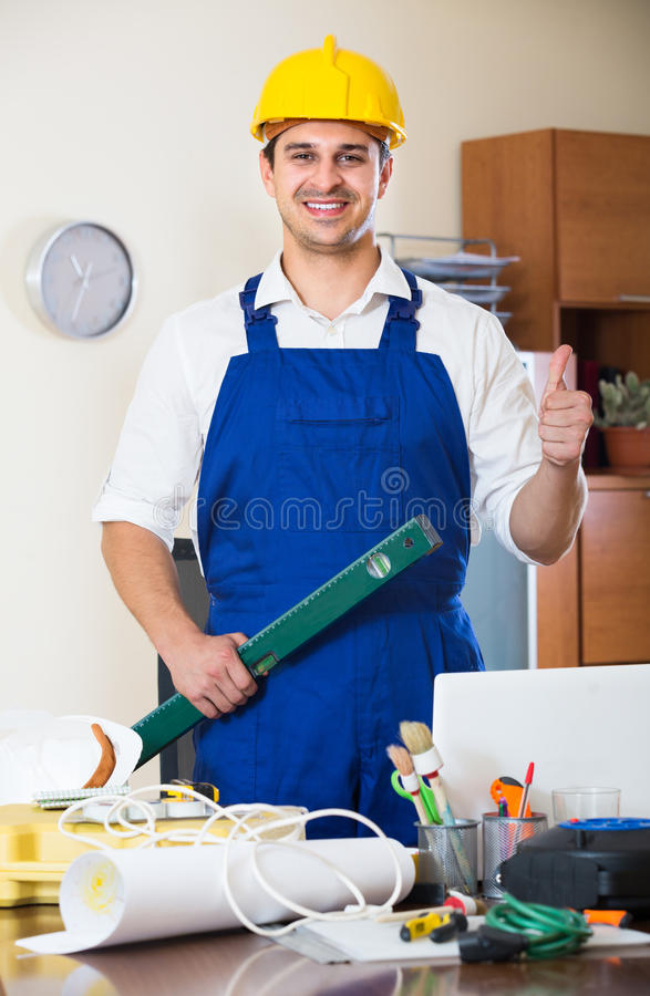 Designer-constructor at work place stock photography