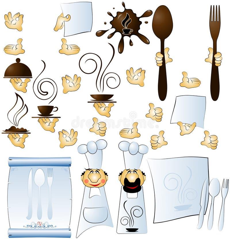 Designer cook and hands constituent for restaurant. Menu stock illustration