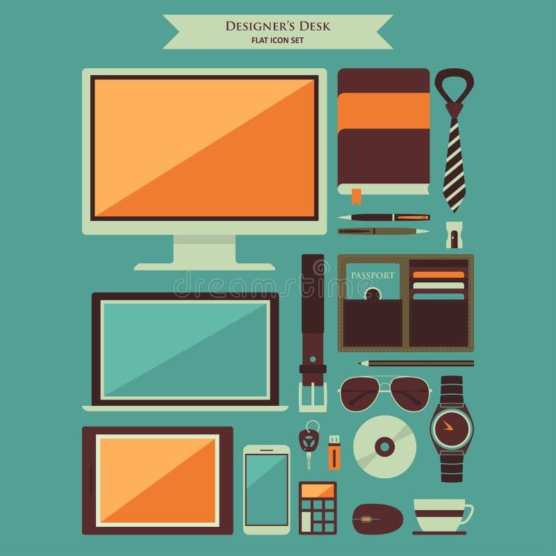 Designer Desktop Items Flat Icons. A vector illustration of Designer Desktop Items Flat Icons stock illustration