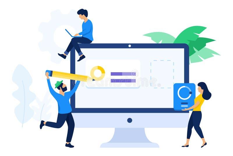Designer and developer collaboration concept vector illustration