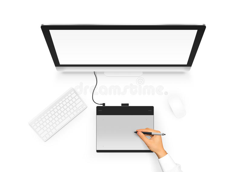 Designer drawing on graphic tablet near pc monitor blank screen. Artist design project with digitizer, stylus, computer, mouse and keyboard. Empty display vector illustration
