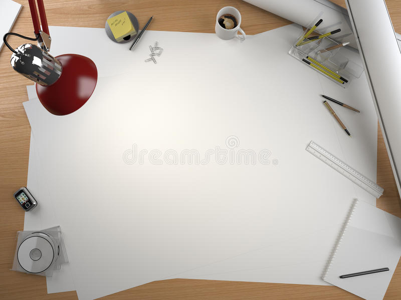 Designer drawing table royalty free illustration