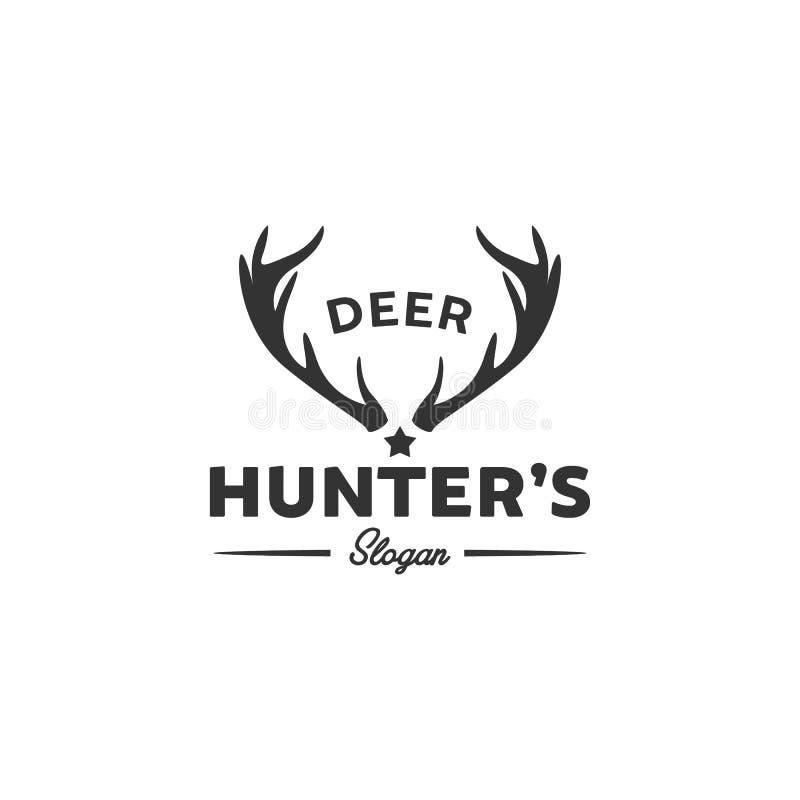 Designer för djurlivhjortlogo som jagar klubbalogo vektor illustrationer