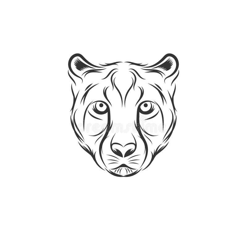 Designer för gepardhuvudillustration vektor illustrationer