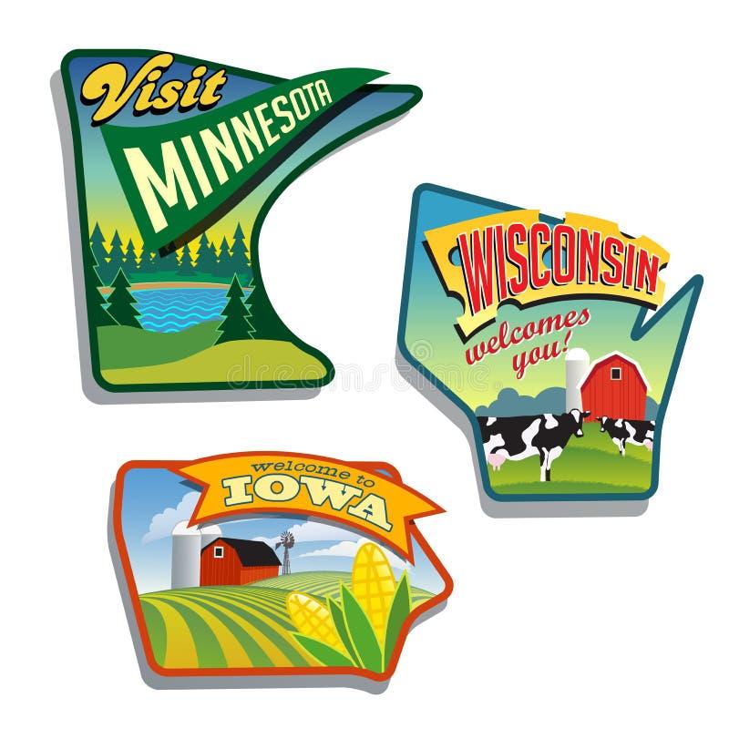 Designer för Midwest Förenta staternaMinnesota Wisconsin Iowa illustrationer stock illustrationer