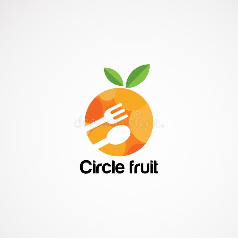 Designer för vektor för cirkelmatlogo med skeden och gaffel, symbol, beståndsdel och mall för företag stock illustrationer