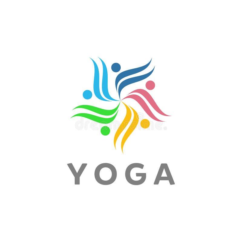 Designer för yogavektorlogo vektor illustrationer