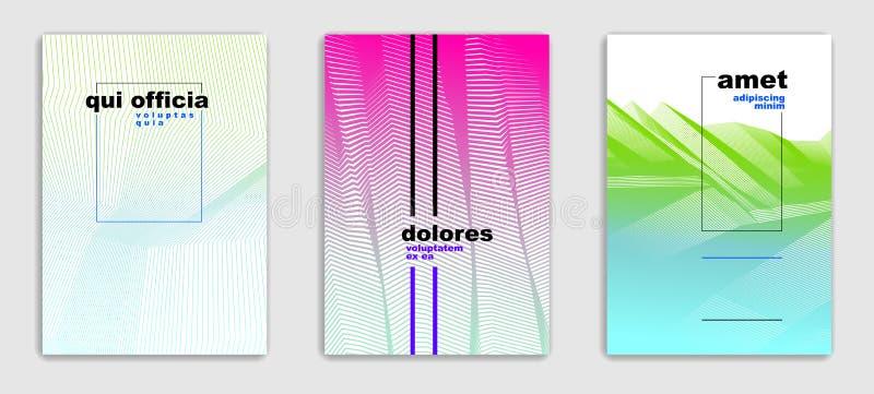 Designer in f?r broschyr f?r linj?r vektor f?r konst st?llde minimalistic moderiktiga, r?kningsmallar, geometrisk rastrerad lutni vektor illustrationer