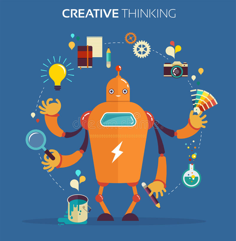 Designer gráfico do robô - pensamento criativo ilustração stock