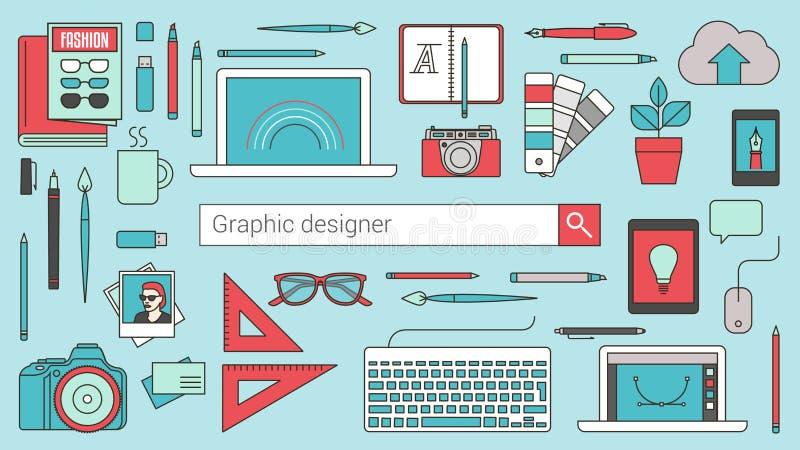 Designer gráfico, ilustrador e fotógrafo ilustração do vetor