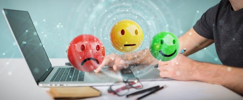 Designer gráfico que usa a rendição da avaliação de satisfação do cliente 3D ilustração stock