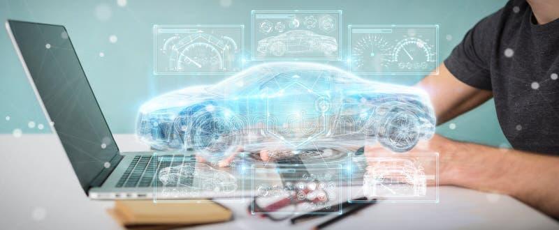 Designer gráfico que usa a rendição esperta moderna da relação 3D do carro ilustração royalty free