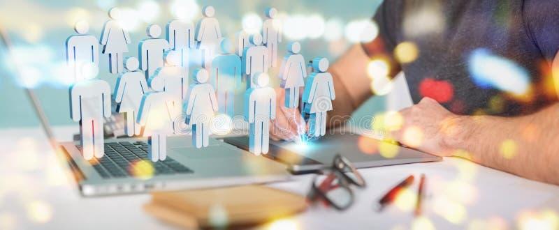 Designer gráfico segurando grupo de pessoas renderização 3D ilustração royalty free