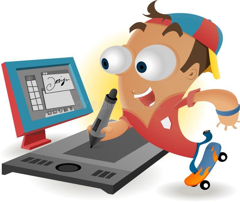 Download Designer With Graphic Tablet Stock Illustration - Illustration of digitizer, tool: 28373990