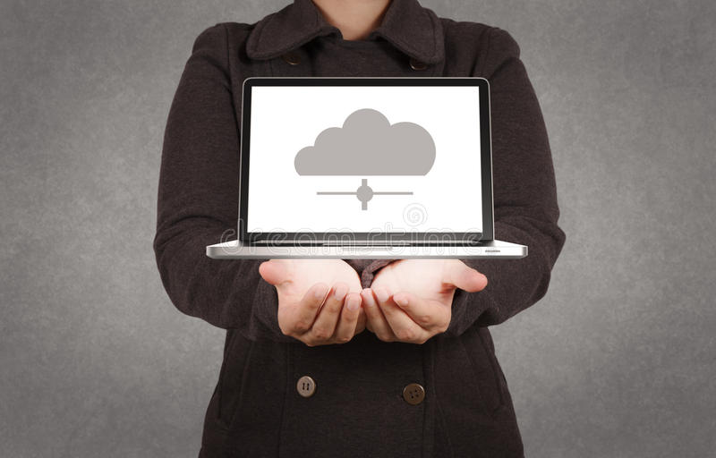 Designer hand show cloud network sign. As concept stock photography