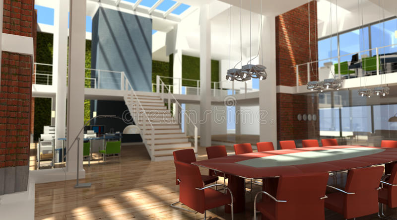Designer headquarters. 3D rendering of a very modern office in a loft stock images