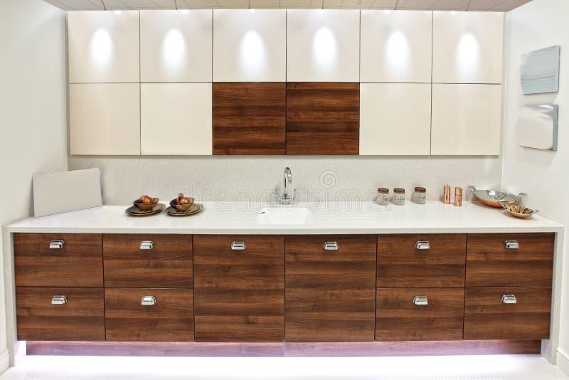 Designer kitchen. Designer modern new fitted kitchen units royalty free stock images