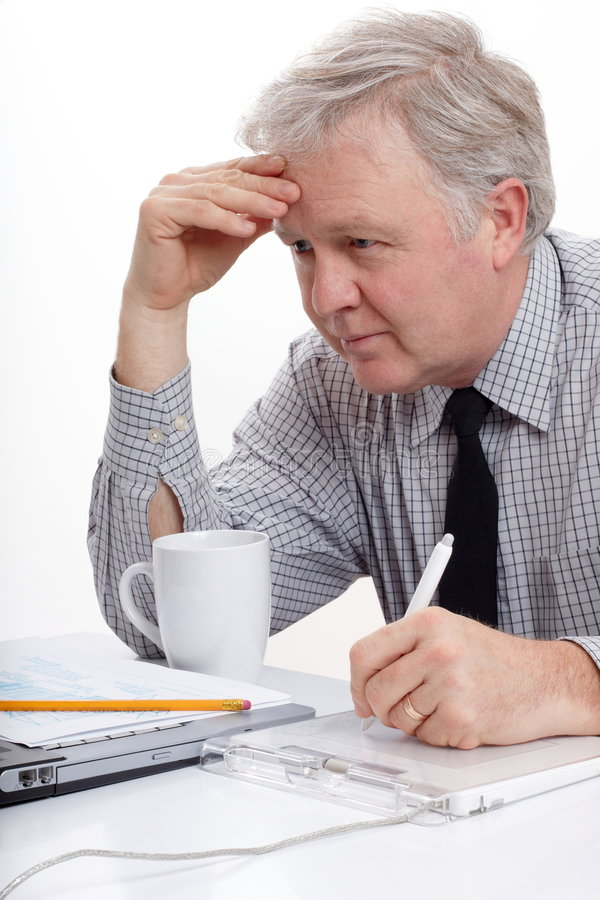 Designer looking and writing royalty free stock image